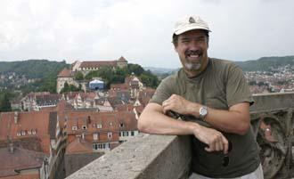 Jim at top of church tower