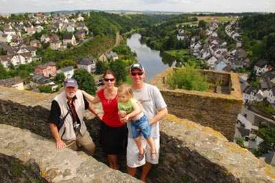 James, Tricia, Hans and Alana Rosenwinkel atop one of the castle towers