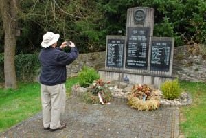 Taking photos of the war memorial