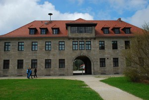 "The camp administration building. ""Arbeit Macht Frei"" was the cruel lie posted near here."