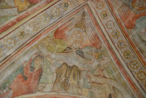 The church ceiling, in the ancient tower