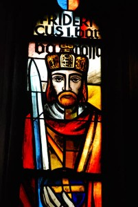 Frederic I memorialized in stained glass in the ancient church