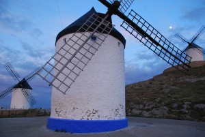 Three of the twelve windmills above Consuegra