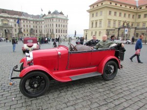 Clients of ours in May enjoy a jalopy ride around historic Prague