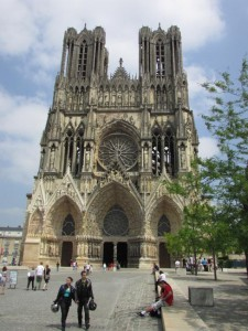 The soaring towers of the cathedral where French kings were crowned