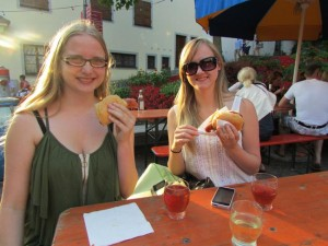 Christina and Jennifer enjoy their first German wine fest in Meersburg