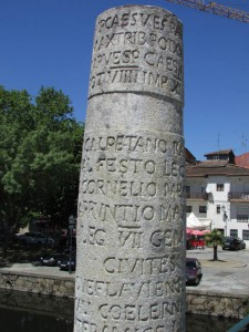 Column with Latin inscription noting that the bridge was built with money raised by the citizens of the Roman town