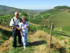 Taking in the panorama of vineyards above Durbach, Baden-Württemberg, Germany.