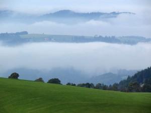 Fog in the valleys near Furtwangen