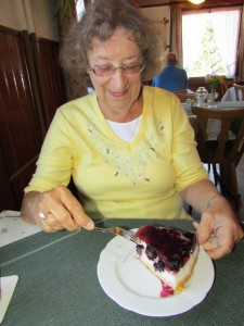 Gloria loves desserts and Germany does these very well! Here she is about to enjoy a slice of homemade blackberry cheese cake in a Gasthaus in the Black Forest