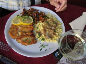 Wienerschnitzel with spätzle and a special seasonal mushroom in a lovely spot in Durbach