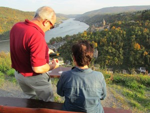 Pouring a chilled bottle of Mosel Riesling at a secret spot above Bacharach