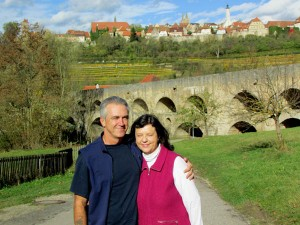 Enjoying a lovely fall day in Bavaria and Germany's most famous walled town, Rothenburg ob der Tauber