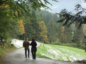 Jim and Denise go for a walk down the side of a mountain near Kitzbuehl