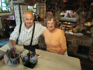 Ken and Gloria took a break from ancestral discoveries to enjoy sausages in a kitchen dating back to the late 15th century in Nurnberg, Germany in September of 2013.