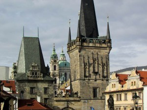 Towers on the west side of Charles Bridge, built in the 14th century, Prague