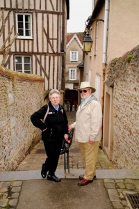 Newly arrived guests Gayle and Peter on one of the several narrow lanes, called 'Tertre' which connect upper and lower Chartres