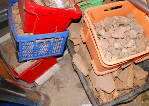 Just a bunch of Roman stuff. Really? The heart starts to beat when one sees boxes of fragments of history in the attic of the Geiger home.