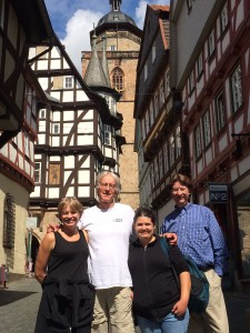 We make coffee stops special. We stopped in the half-timbered town of Alsfeld, Hessen for coffee after leaving the airport this morning.