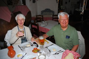 Art and Carol on Day 1 of their seventh trip with European Focus in May of 2014. Their eighth trip is already booked for May and June of 2015.