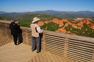 Our guests Peter and Gayle look out over an ancient Roman gold mine in Spain during their summer, 2014 tour. Their third trip will take place in June of 2015 and will go to Austria.