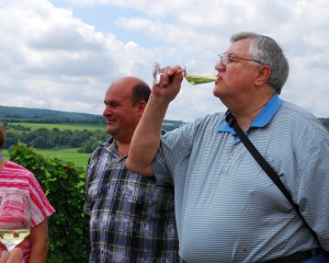 Carl and his cousin Jorge in the vineyards near Veldenz, Germany