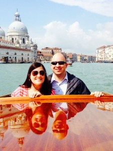 Dan and Amanda enjoy a private water taxi ride to a glass factory on the island of Murano near Venice.