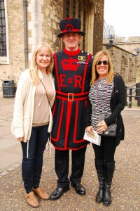 The ladies pose with a Beefeater at the Tower of London