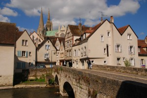 chartres, cathedral, bridge, view