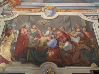 This depiction of the Last Supper is the only one in the world which shows Jesus at the head of the table with disciples kneeling in front of him.